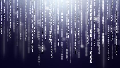 Stream of binary code on the screen. Computer matrix background. - fototapety na wymiar