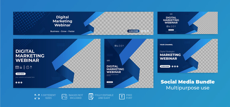 webinar facebook cover banner template social media post Youtube Thumbnail web banner package Bundle