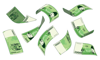 Korean currency, different types set of falling paper money. South Korean 10,000 won.