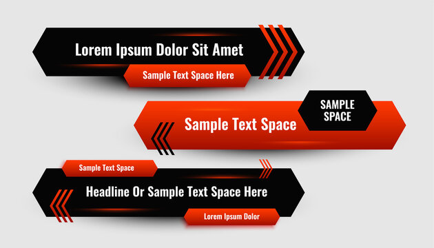 abstract red lower third geometric modern banner design