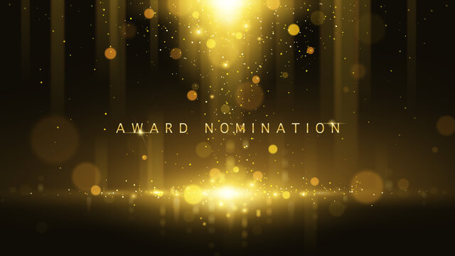 Award nomination ceremony luxury background with golden glitter sparkles and bokeh. Vector presentation shiny poster.