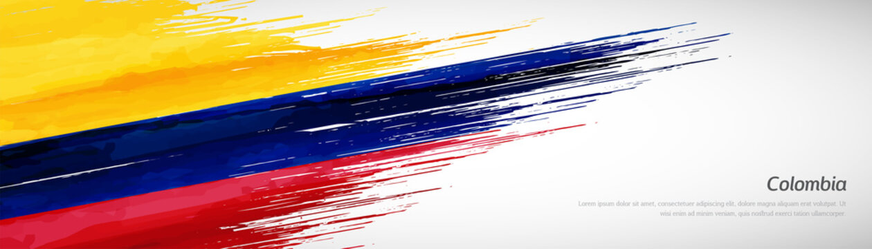 Abstract happy independence day of Colombia with creative watercolor national brush flag background