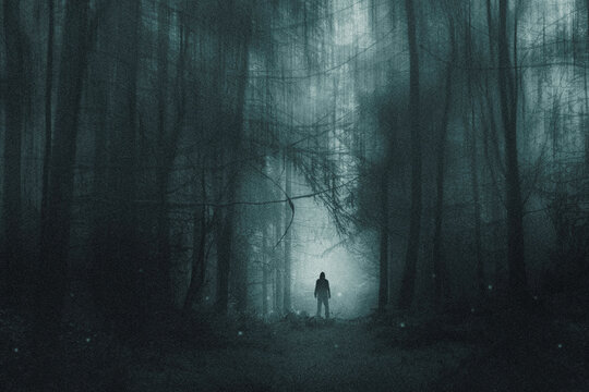 A spooky hooded figure, standing in a winter forest. With glowing supernatural lights. With a blurred, grunge, grainy edit