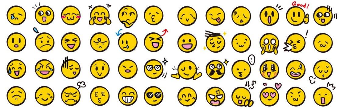顔 アイコン 手描き 黄色 セット 顔文字 絵文字 イラスト カラー ベクター シンプル yellow color face Icon 笑顔 涙 驚く 怒る 困る 楽しい 汗 眼鏡 サングラス