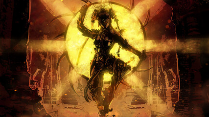 Obraz An acrobat with a dangerous hoop hung with sharp blades in an Indian-style cyber suit stands in the middle of an abandoned ancient temple, behind him a bright golden sun 2d illustration - fototapety do salonu