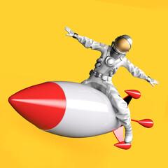 Fototapeta Astronaut sitting on a flying missile, 3D illustration. obraz