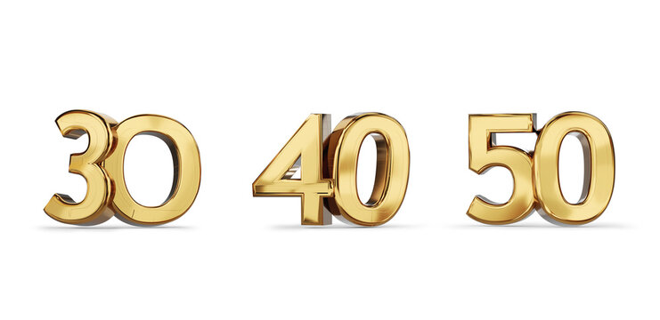 30 and 40 and 50 golden bold letters symbol 3d-illustration