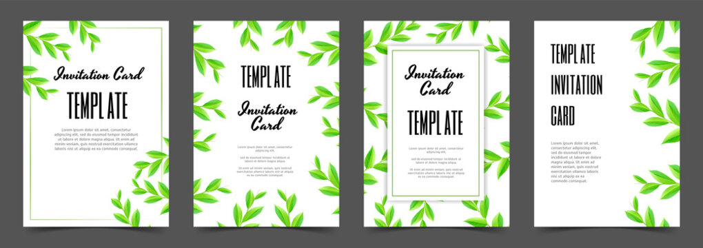 Wedding greeting card templates with tree branches with green leaves on white background. Set invitation cards. Vector design.