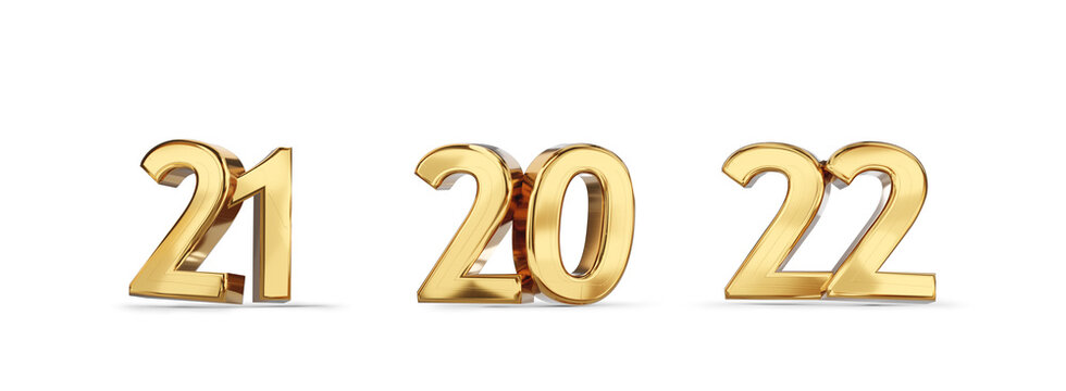 21 and 20 and 22 golden bold letters symbol 3d-illustration