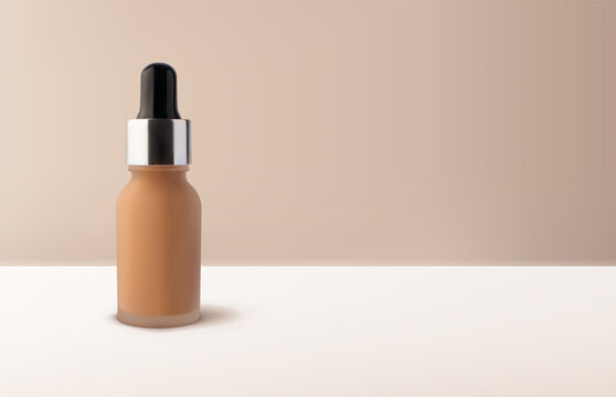 Mockup liquid tonal foundation makeup cream in glass jar with dropper mockup 3d vector realistic illustration on beige background. Template vector design with copy space