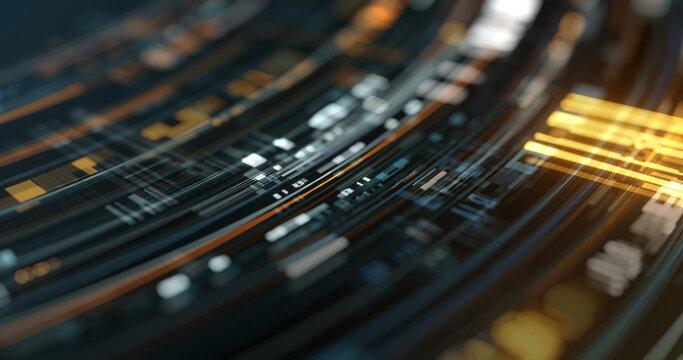 Data stream futuristic virtual smart computer network. futuristic computer technology graphic, 3D rendering