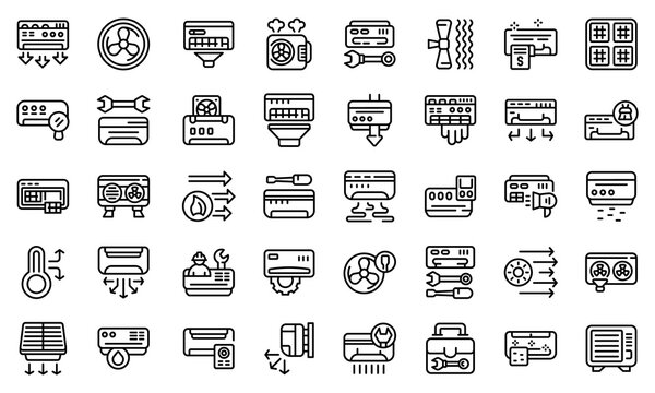Repair air conditioner icon. Outline repair air conditioner vector icon for web design isolated on white background