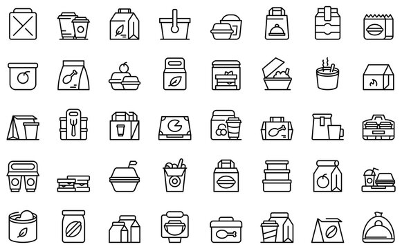 Take away food and drinks icon. Outline take away food and drinks vector icon for web design isolated on white background