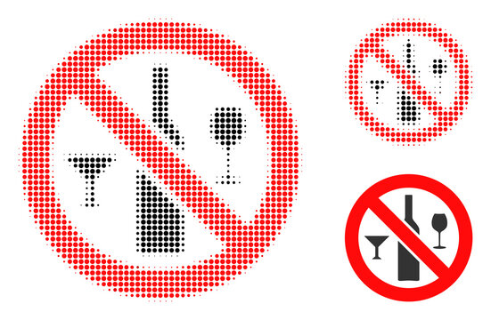 Forbidden wine drinks halftone dotted icon. Halftone array contains circle dots. Vector illustration of forbidden wine drinks icon on a white background.