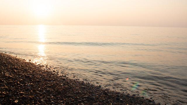 Quiet lake at sunset time