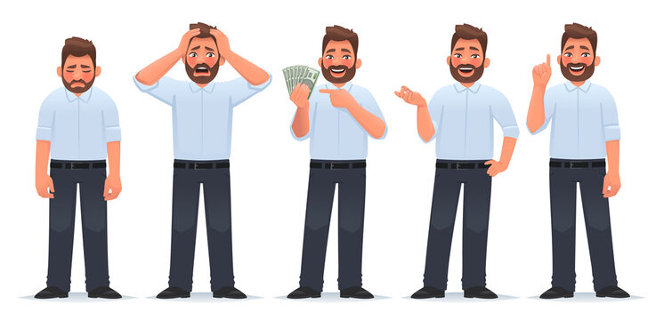 Businessman character set. Guy in different actions. The man is tired, he is in shock, holds money in his hands, says