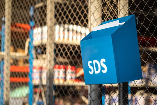 """""""SDS"""" (safety data sheet) container box which is installed in front of chemical storage warehouse at the factory. This box is used to place chemical treatment document, using for emergency incident."""