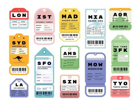 Travel stickers. Airport vintage luggage labels. Retro baggage tags. Colorful flight cardboard badges with barcodes. Airline coupons from various cities. Vector airplane tickets set