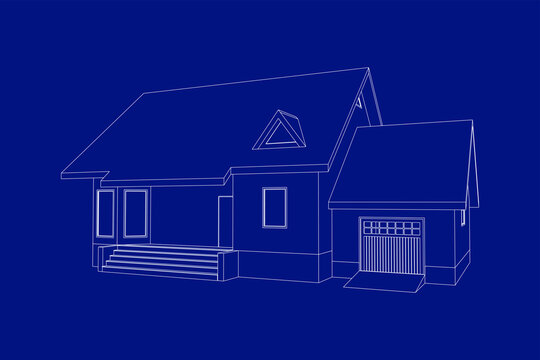 Building perspective 3D. Drawing of the suburban house. Outlines cottage on blue background. House 3D model perspective vector. Cottage blueprint. EPS 10.