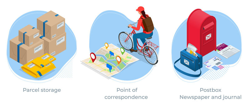 Isometric concept of Parcel storage, Point of correspondence, Postbox, Newspaper and journal. Post office