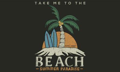 Fototapeta Beach island vector print design for t shirt and others. summer illustration artwork design. obraz
