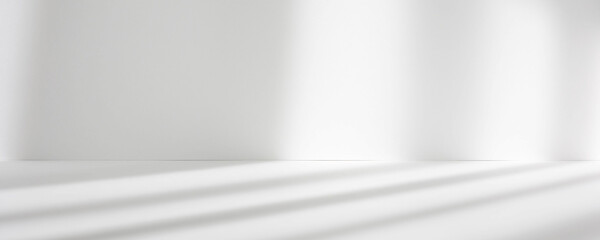 Abstract white studio background for product presentation. Empty room with shadows of window....