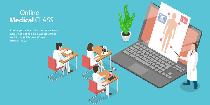 3D Isometric Flat Vector Conceptual Illustration of Online Medical Class, Educational Medicinal Web Conference
