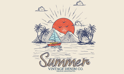 Fototapeta Summer vintage graphic print design. Beach vibes with board print design. Hand sketch beach vector design. obraz