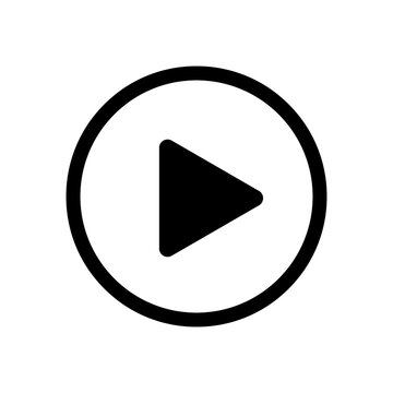 Play button. Icon play video. Sign arrow. Symbol player. Black triangle button isolated on white background. Circle click start  media, music, audio, multimedia. Graphic flat icon. Vector illustration
