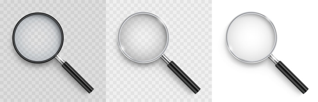 Realistic Magnifying glass set. 3D vector magnifying glases with shadow on a transparent background - stock vector.