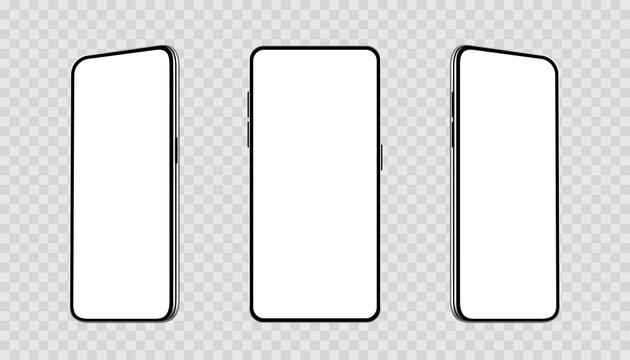 Realistic set smartphones at different angles mockup. Cellphone with blank display. Mobile phone 3d - stock vector.