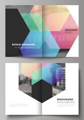 Obraz Vector layout of two A4 format cover mockups design templates with colorful hexagons, geometric shapes, tech background for bifold brochure, flyer, magazine, cover design, book design, brochure cover. - fototapety do salonu
