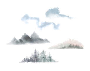set of watercolor forest and natural illustrations. Siberia, Canada, Finland. Forest landscape, hand-painted