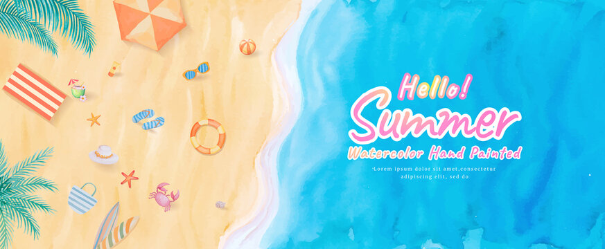 Top view on the beach ocean waves sea with surfboard,umbrella,ball,swim ring,sunglasses,hat,sandal,starfish in summer holidays tropical tourism travel trip. watercolor hand painted