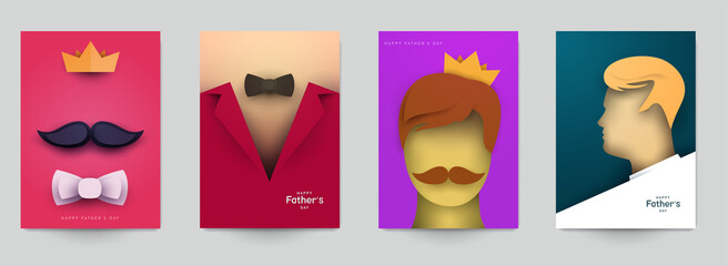 Set of father's day concept composition in minimalistic modern paper cut style. Collection background templates for card, banner, poster, cover. Bright design element. Creative vector illustration.