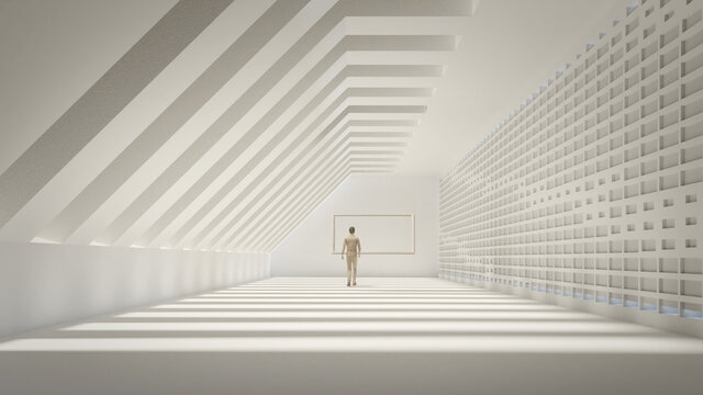 3d illustration of minimalist design as a concept in art.