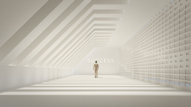 3d illustration of trendy architecture design as artistic concept of success.