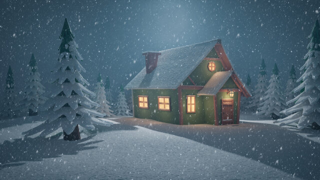 Stylized abstract advent background 3d llustration with falling snow