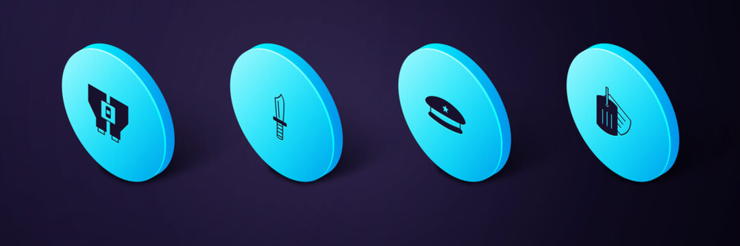 Set Isometric Military dog tag, beret, knife and Binoculars icon. Vector