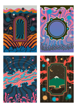 Abstract Psychedelic Illustration Set, Abstract Backgrounds and Patterns for Vintage Style Posters and Covers