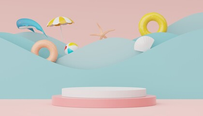 3d render of Abstract minimal  display podium for showing products or cosmetic presentation with summer beach scene. Summer time.
