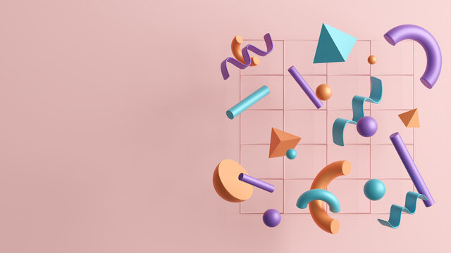 3D illustration of abstract shapes and an empty space for a content.