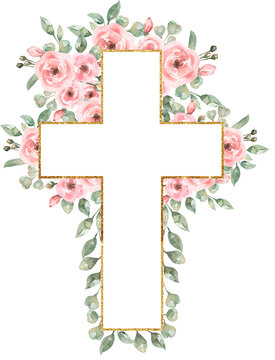 Watercolor Easter Pink flowers Cross Clipart, Delicate Peony Florals Frame Clip art, Hand painted Pink Baptism Crosses, Wedding Invites, new baby girl, Holy Spirit illustration, greenery cross