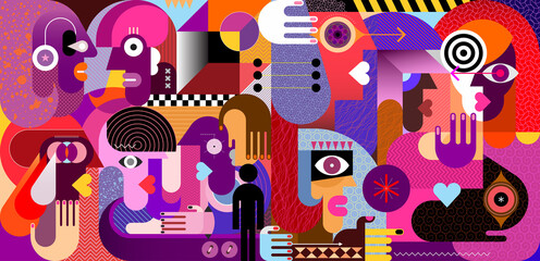 Modern abstract art vector illustration with ten different persons. Large group of people. Gloomy colors artwork.