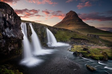 Wonderful place in dramatic, romantic and cold Iceland Wall mural