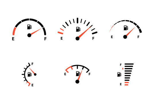 Fuel indicator for gas, petrol, gasoline, diesel level count. Set of car gauge for measuring fuel consumption and control gas tank fullness vector illustration isolated on white background