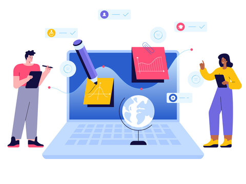 Online education scene concept. Students receive education