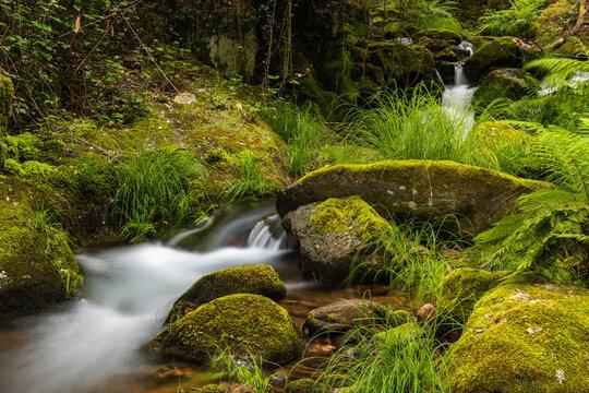 Beautiful water stream in Gresso river Portugal