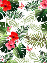 Tropical pattern with hibiscus, palm leaves. Summer vector background for fabric, cover,print design.