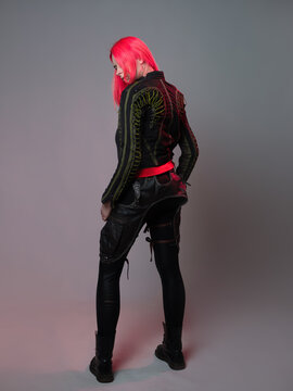 Kitsch style, fashion of the future. mixing styles. A young woman